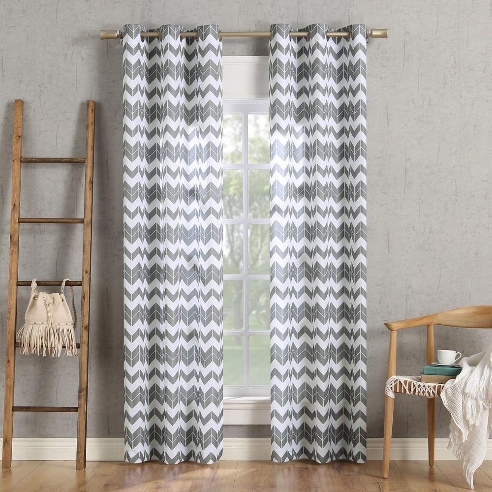 Image of 40x63 Kai Chevron Semi-Sheer Grommet Curtain Panel Gray-No. 918, Gray