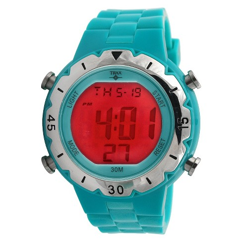 Trax Digital Rubber Chronograph Multifunction Watch - Turquoise - image 1 of 1
