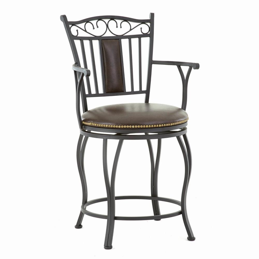 "Image of ""30"""" Barbara Jumbo Swivel Bar Chair Metal - Steve Silver"""