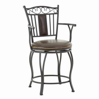 "30"" Barbara Jumbo Swivel Bar Chair Metal - Steve Silver"