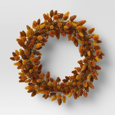 """18"""" Artificial Hops Wreath Gold/Brown - Threshold™"""
