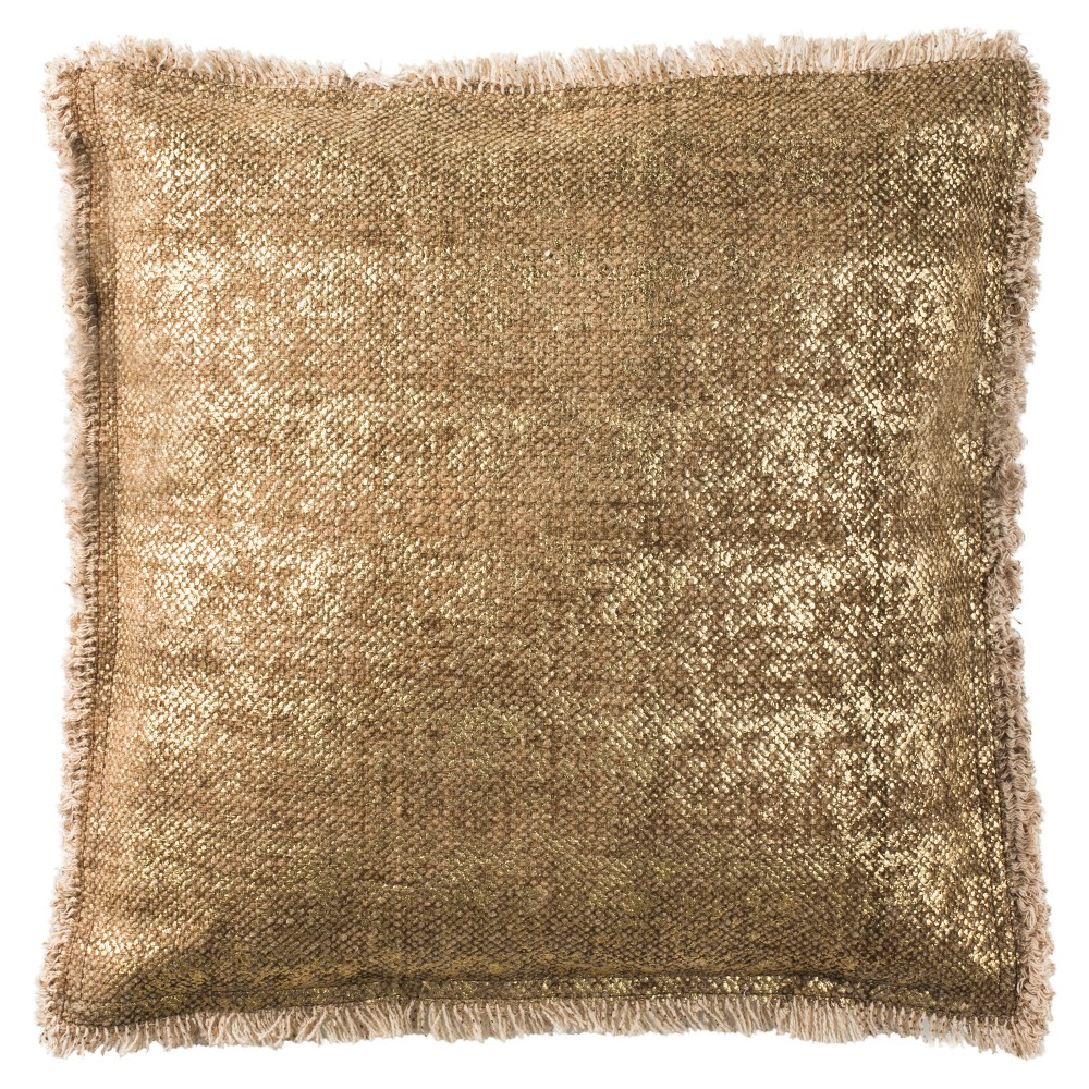 Metallic Sponge Square Throw Pillow Gold - Safavieh