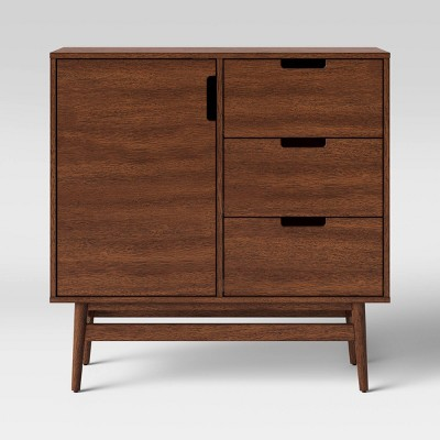 Ellwood 1 Door Mid Century Modern Wood Cabinet with Drawers Brown - Project 62™