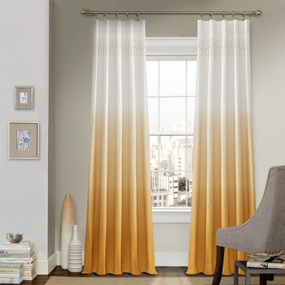 """95""""x52"""" Arashi Ombre Embroidery Light Filtering Curtain Panel Gold - Vue"""