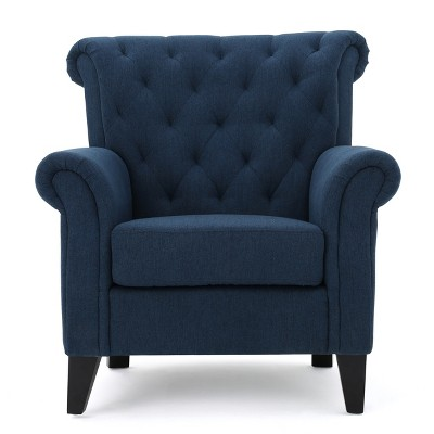 Merrit Tufted Club Chair - Dark Blue - Christopher Knight Home