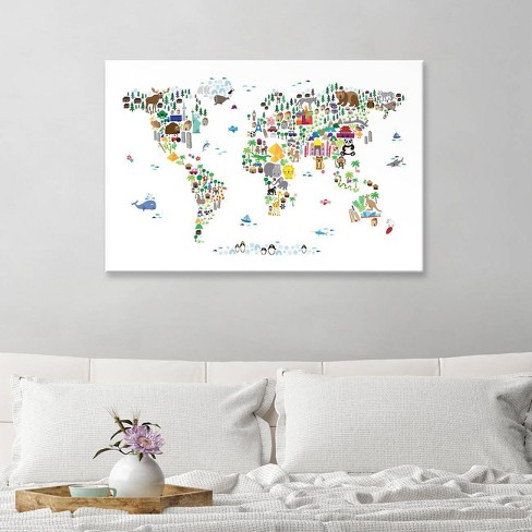 Animal Map Of The World By Michael Tompsett Canvas Print 12 X 18 ...