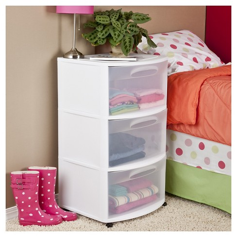 sterilite three drawer wide cart white with clear drawers target