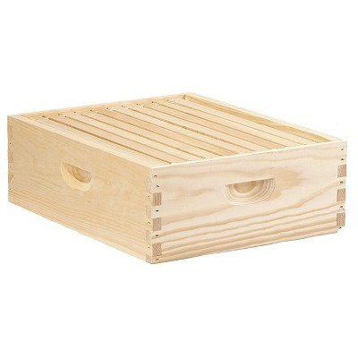Little Giant MEDBOX10 10 Frame Medium Honey Super Beehive Brood Body Wooden Keepsake Box, Natural Unfinished Pine with Wax Coated Frames