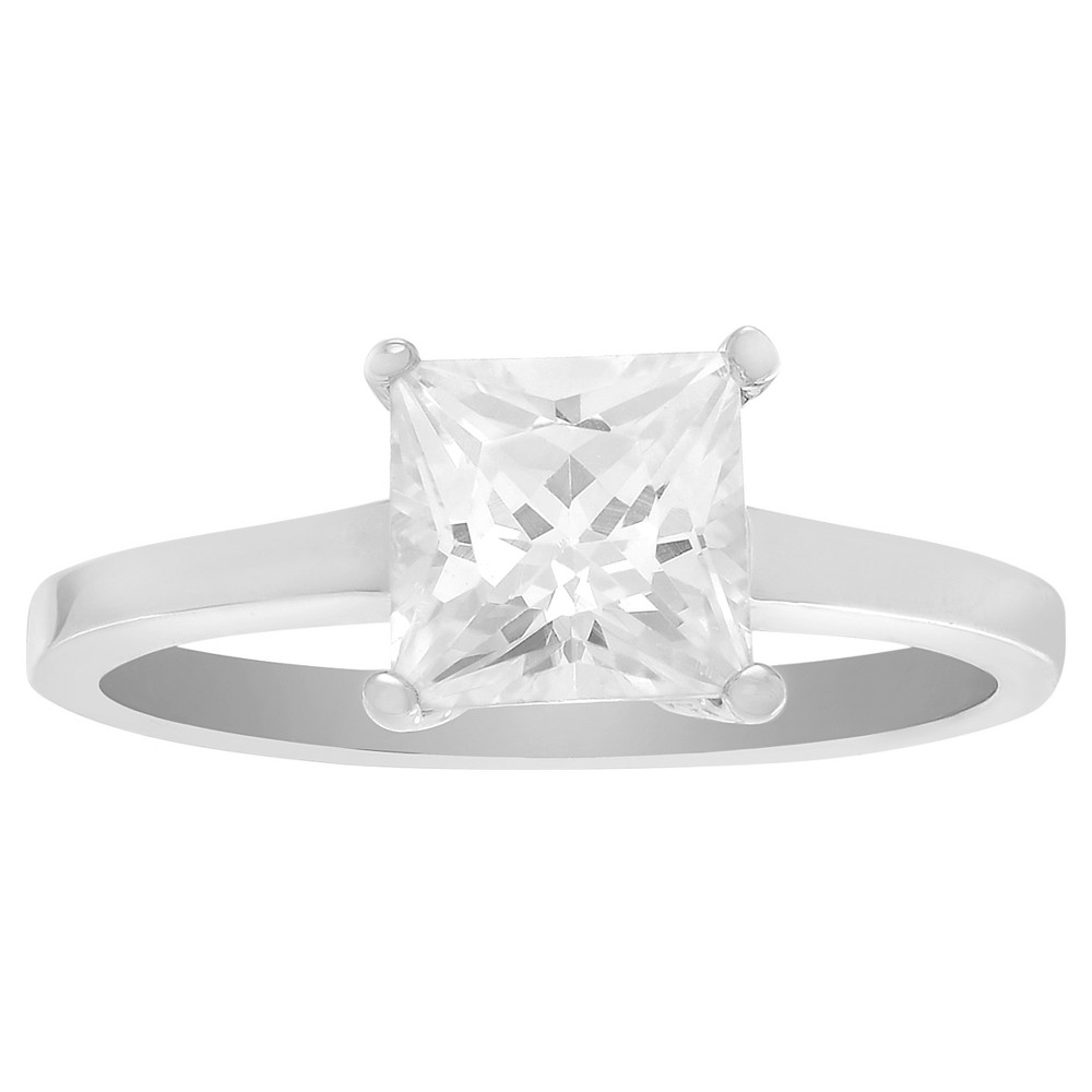 1/2 CT. T.W. Princess-cut CZ Prong Set Elegant Engagement Ring In Brass - Silver, 6, Girl's