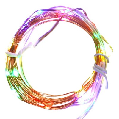 Northlight 20ct Micro Fairy LED Battery Operated String Lights Multi-Color - 6.3' Copper Wire