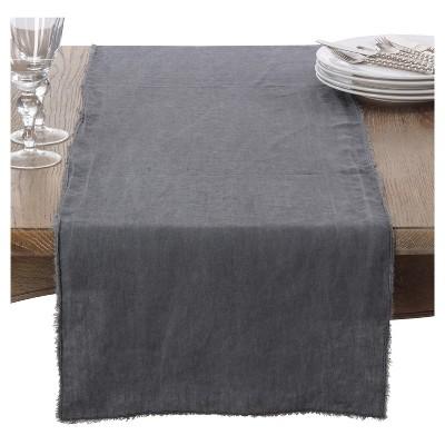 Gray Slate Graciella Fringe Table Runner (16 x72 )- Saro Lifestyle®