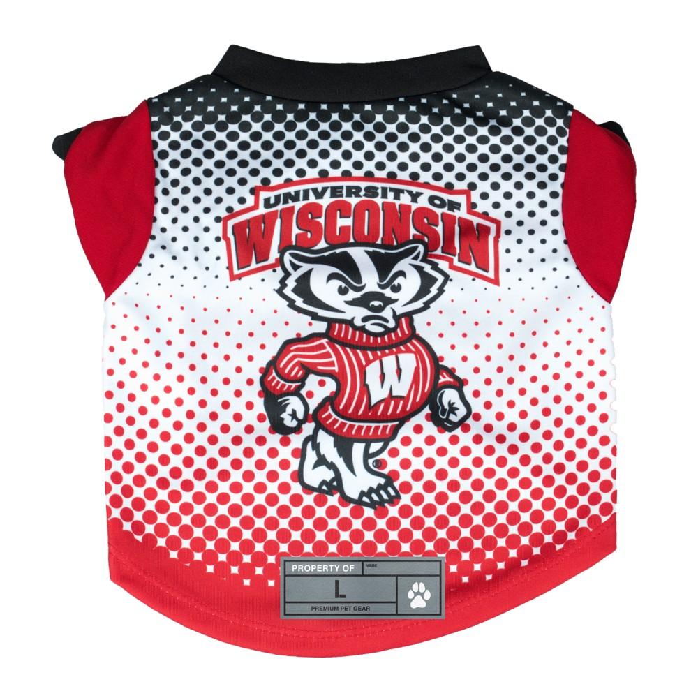 Ncaa Wisconsin Badgers Little Earth Pet Performance Football T Shirt Xs