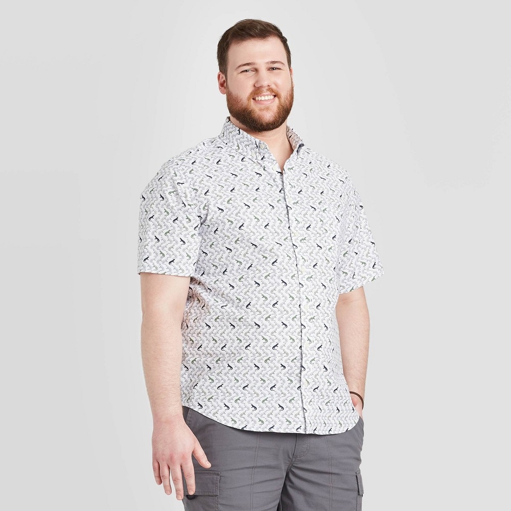 Men's Tall Standard Fit Short Sleeve Button-Down Shirt - Goodfellow & Co Stone Gray MT, Grey Gray was $19.99 now $12.0 (40.0% off)