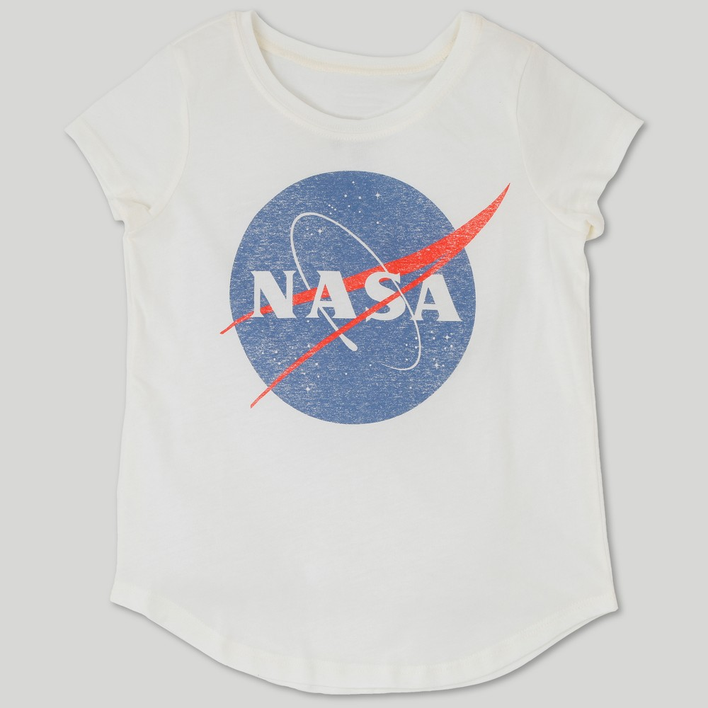 Image of Girls' NASA Cap Sleeve Graphic T-Shirt - Ivory L, Girl's, Size: Large, White