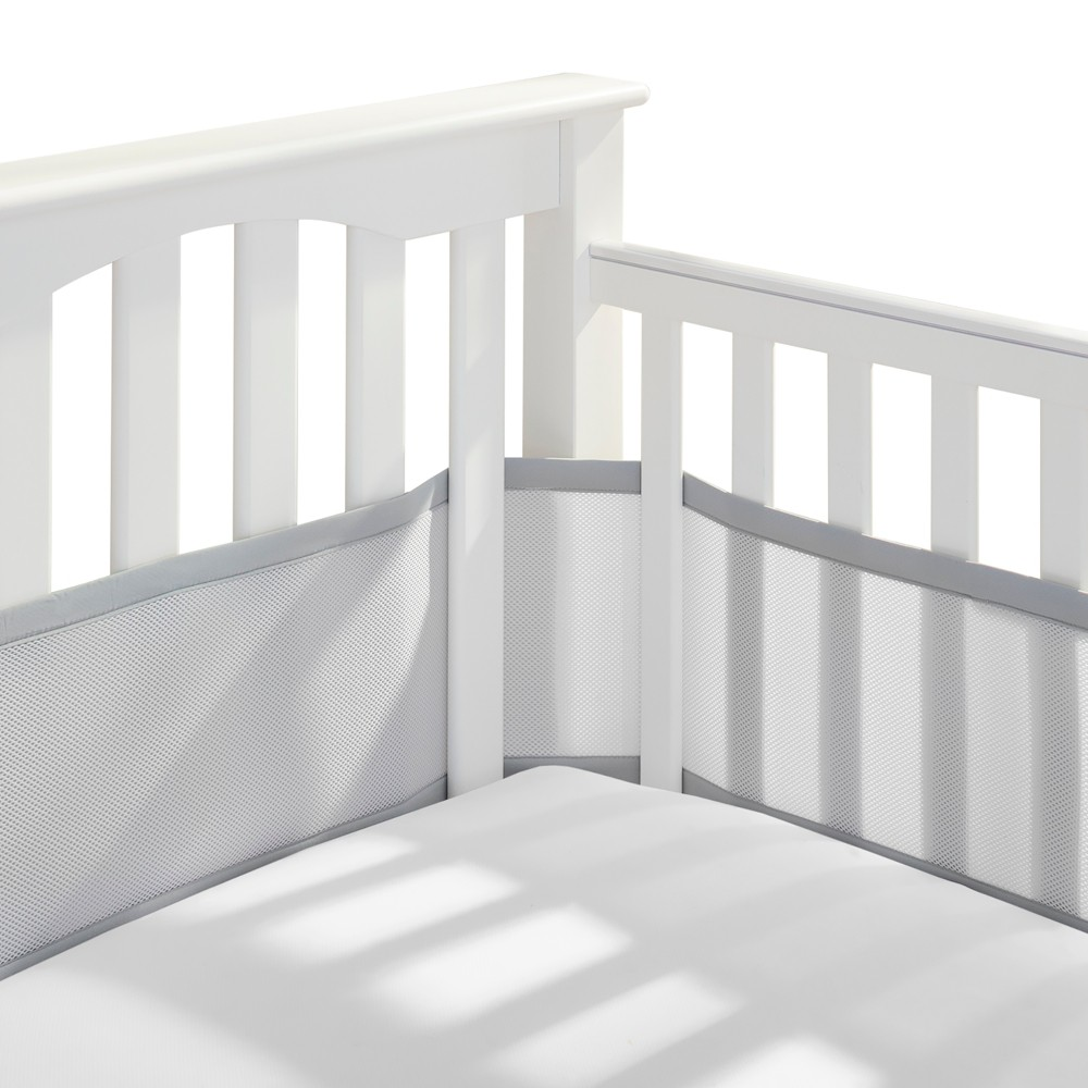 Image of Breathable Baby Solid Mesh Crib Liner - Gray