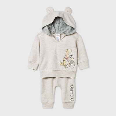 Baby Girls' 2pc Winnie The Pooh Long Sleeve Fleece Top and Bottom Set - Beige Newborn
