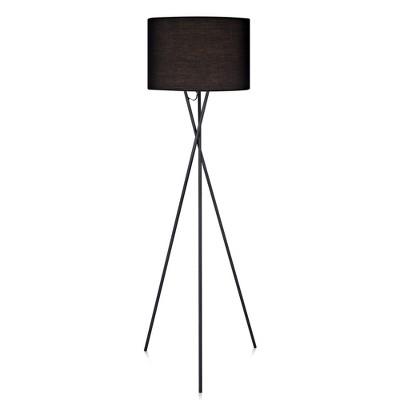 Versanora - Cara Tripod Floor Lamp with Black Shade