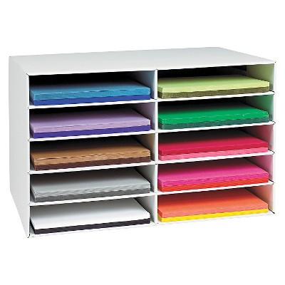 Pacon® Classroom Construction Paper Storage, 10 Slots, 26 7/8 x 16 7/8 x 18 1/2