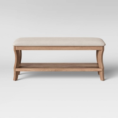 Shelburne Wood End of Bed Bench with Cushion Brown - Threshold™