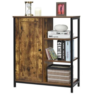 Costway Storage Cabinet Multipurpose Freestanding Cupboard w/3 Open Shelf & Door