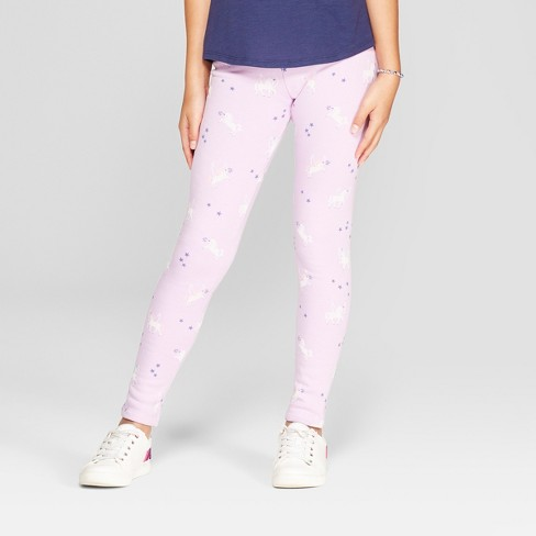 9f5cb233630a3e Girls' Cozy Fleece Unicorn Print Leggings - Cat & Jack™ Violet : Target