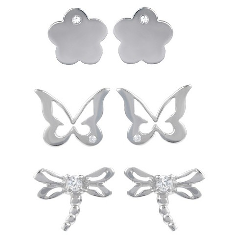 1/6 CT. T.W. Round-cut CZ Prong Set Spring Stud Earrings Set in Sterling Silver - Silver - image 1 of 2