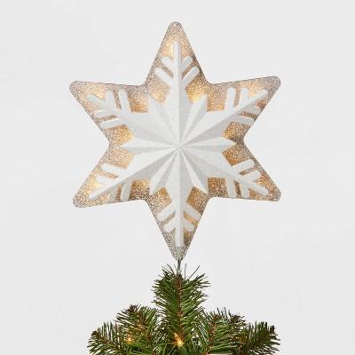 14.5in 18 Led Light White Glitter Snowflake Tree Topper - Wondershop™