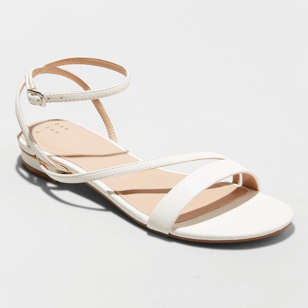 Women's Isma Barely There Ankle Strap Sandals - A New Day White 10
