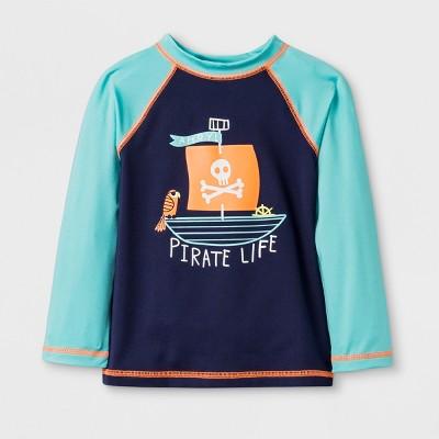 Toddler Boys' Long Sleeve Pirate Raglan Rash Guard - Cat & Jack™ Aqua 4T