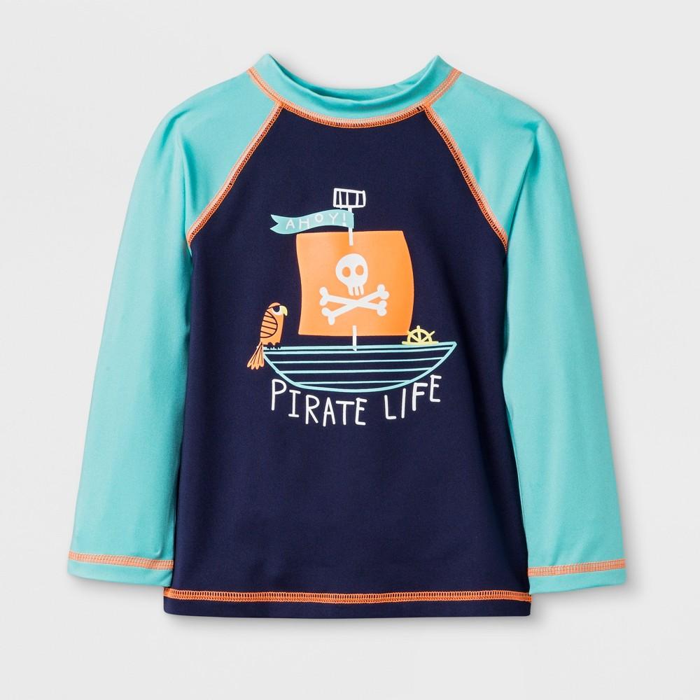 Toddler Boys' Long Sleeve Pirate Raglan Rash Guard - Cat & Jack Aqua 7, Blue