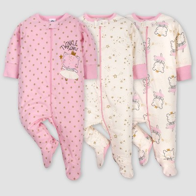 Gerber Baby Girls' 3pk Princess Sleep N' Play Pajamas - Pink/Ivory Newborn