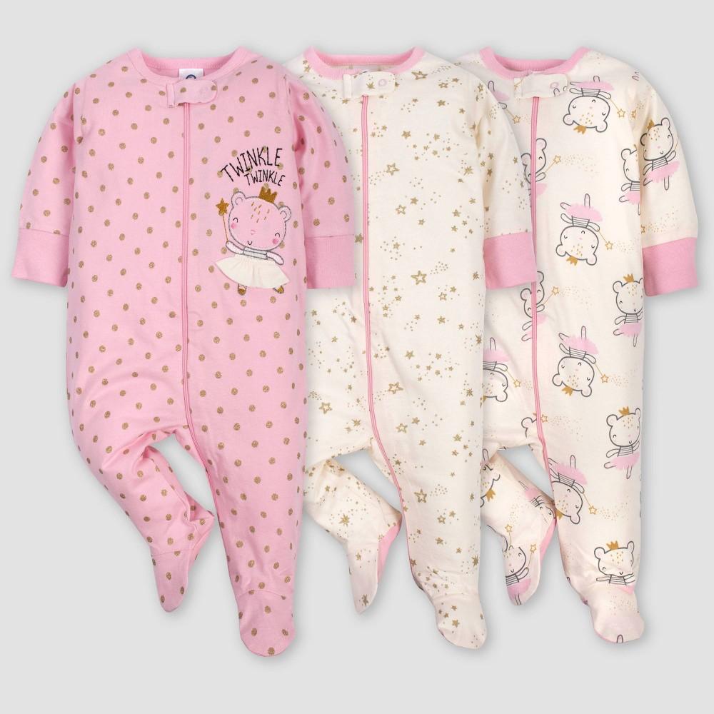 Gerber Baby Girls' 3pk Princess Sleep N' Play Pajamas - Pink/Ivory Newborn