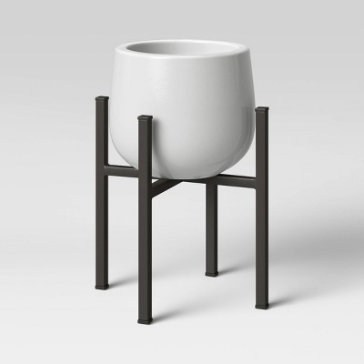 """12"""" x 8.5"""" Ceramic/Metal Planter Stand White - Project 62™"""
