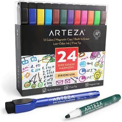 Arteza Dry Erase Markers, Magnetic Eraser Caps for School - 24 Pack (ARTZ-8416)