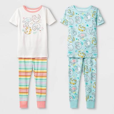 Toddler Girls' 4pc Cats 100% Cotton Pajama Set - Cat & Jack™ Cream 3T