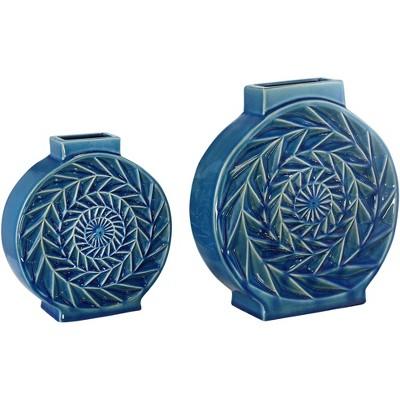 Dahlia Studios Light Blue Circle Ceramic Vases Set of 2