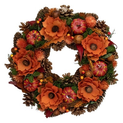 Northlight Orange and Red Fall Wreath With Gourds and Flowers - 13.25-Inch, Unlit