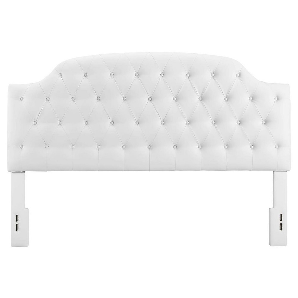 Lyric Button Tufted Faux Leather Headboard (Full-Queen) - White - Dorel Living