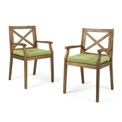 Perla 2pk Acacia Wood Patio Dining Chairs - Teak/Green - Christopher Knight Home