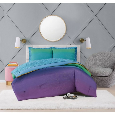 Mermaid Ombre Bed In A Bag Material, Teal And Purple Ombre Bedding