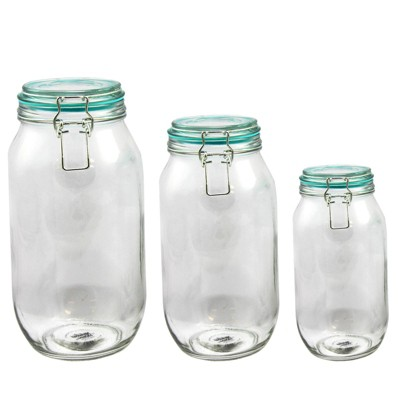 Gibson Home 3pc Glass Hollydale Preserving and Storage Jar Set