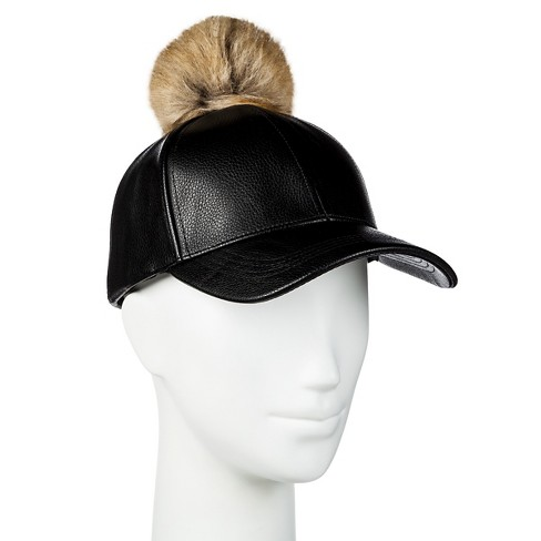 Women's Baseball Cap with Faux Fur Pom Black - Manhattan Hat Co. - image 1 of 2