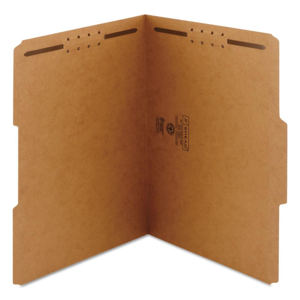 Smead 8-1/2 x 11 Kraft 11 Point 1/3 Cut Top Tab File Folders with Two Fasteners- Brown (50 Per Box)