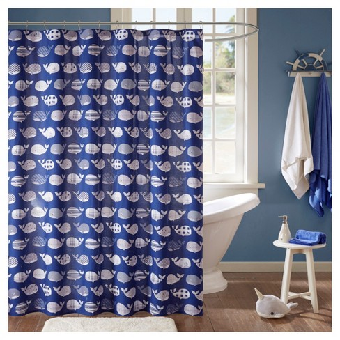 Theo Cotton Printed Shower Curtain Navy Target