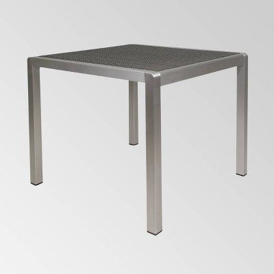 Cape Coral Square Aluminum Dining Table - Silver/Gray - Christopher Knight Home