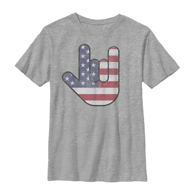 Boy's Lost Gods Fourth of July  American Love Sign T-Shirt