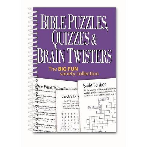 Bible Puzzles, Quizzes & Brain Twisters - (Spiral_bound)