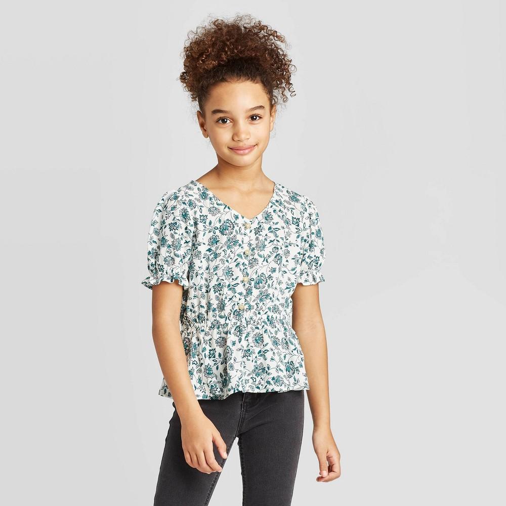 petiteGirls' Button-Front V-Neck Short Sleeve T-Shirt - art class Blue S, Girl's, Size: Small was $16.99 now $11.04 (35.0% off)