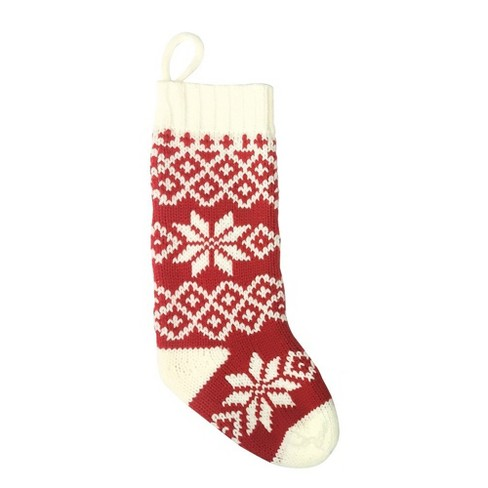 casual fair isle snowflake christmas stocking redwhite wondershop