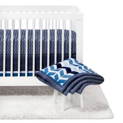 Crib Bedding Set Chevron 4pc - Cloud Island™ - Navy